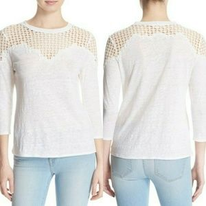 "Rebecca Taylor Lace Detail Linen Tee in ""Snow"""